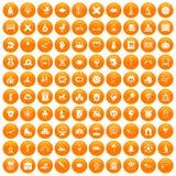 100 kids icons set orange. 100 kids icons set in orange circle isolated on white vector illustration stock illustration