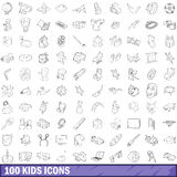 100 kids icons set, outline style. 100 kids icons set in outline style for any design vector illustration Royalty Free Stock Photo