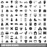 100 kids icons set in simple style. For any design vector illustration Royalty Free Stock Image