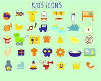 Kids icons. Icons on the theme of children and childhood Royalty Free Stock Photography
