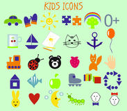 Kids icons. Icons on the theme of children and childhood Stock Image