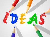 Kids Ideas Shows Drawing Youths And Inventions. Kids Ideas Representing Children Innovations And Concepts Stock Photo