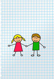 Kids illustration. Boy and girl. Vector illustration Stock Photos