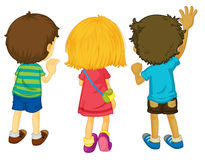 3 kids. Illustration of 3 kids with backs facing Royalty Free Stock Image