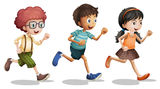 Kids. Illustration of kids running on a white background Royalty Free Stock Photo