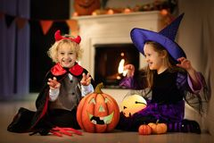 Kids In Witch Costume On Halloween Trick Or Treat Royalty Free Stock Photos
