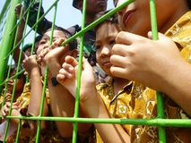 kids in Indonesian soldiers attractions Royalty Free Stock Images