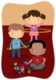 Kids Indoor Play. Illustration of young kids playing indoors Royalty Free Stock Photos