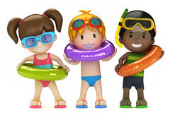 Kids with inflatable ring Stock Photography