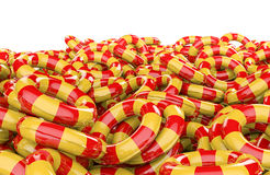 Kids inflatable rings pile Stock Photos