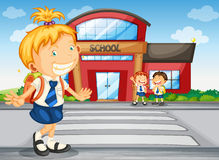 Kids infront of school. Illustration of a kids infront of school Stock Images