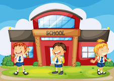 Kids infront of school Stock Photography