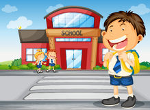 Kids infront of school Royalty Free Stock Photo