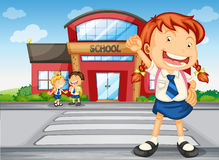 Kids infront of school. Illustration of a kids infront of school Royalty Free Stock Photography