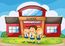 Kids infront of school Stock Photo