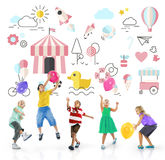 Kids Innocent Children Fun Young Concept. Kids Enjoy Innocent Children Fun royalty free stock images