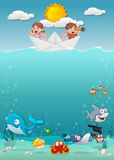 Kids inside a paper boat at the ocean with fish under water. Cartoon children at the sea Stock Image