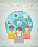 Kids on Internet World Over Stock Photo