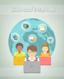 Kids on Internet World Over Stock Photo