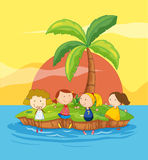 Kids on an island. Illustration of kids on an island Royalty Free Stock Photos