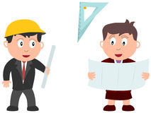 Kids and Jobs - Construction. An engineer and an architect isolated on white background. Kids and Jobs series: you can find other jobs in my portfolio. Eps file