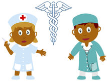 Kids and Jobs - Medicine [4]. A doctor and a nurse isolated on white background. Kids and Jobs series: you can find other jobs in my portfolio. Eps file Stock Photos