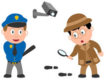 Kids and Jobs - Order [1]. A policeman and a detective isolated on white background. Kids and Jobs series: you can find other jobs in my portfolio. Eps file Royalty Free Stock Images