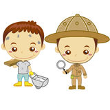 Kids and jobs16. A archaeologist and a construction worker isolated on white background Stock Photos