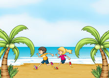 Kids jogging along the seashore Royalty Free Stock Photo