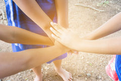 Kids join hands Royalty Free Stock Image