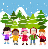 Kids join snow. Illustration of   kids join snow Royalty Free Stock Photos