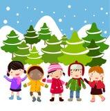 Kids join snow Royalty Free Stock Photos