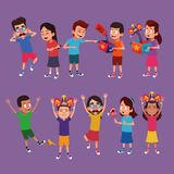 Kids with jokes cartoons vector illustration