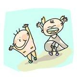 Kids joy cartoon hand-drawn Royalty Free Stock Image