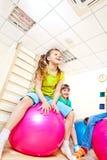 Kids jumping. On gymnastic balls Stock Image