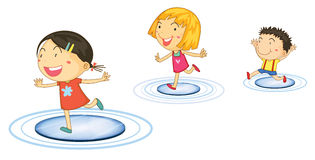 Kids jumping. Illustration of kids jumping from circle to circle royalty free illustration
