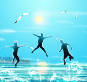 Kids jumping. Happy three Boys jumping on sea beach in morning. Sea landscape, sun and sky, seagull flying on blue sky. Digital Art painting Royalty Free Stock Images