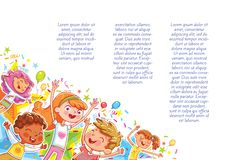 Kids jumping have fun in children`s party. Children`s background for your design. Kids jumping have fun in children`s party. Template for advertising brochure stock illustration