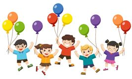 Kids are jumping and holding balloons. Happy kids are jumping together and holding balloons vector illustration