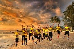 Kids jumping of joy Stock Photo