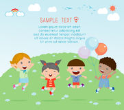 Kids jumping with joy , happy jumping kids, happy cartoon kids playing. Kids playing on white background , Vector illustration Royalty Free Stock Photo