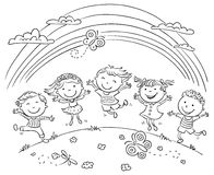 Kids Jumping With Joy On a Hill Under Rainbow stock illustration