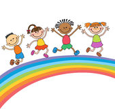 Kids jumping with joy on a hill under rainbow, colorful cartoon. Kids jumping with joy on a meadow under rainbow, colorful cartoon vector vector illustration