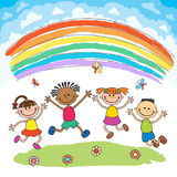 Kids jumping with joy on a hill under rainbow, colorful cartoon. Kids jumping with joy on a meadow under rainbow, colorful cartoon vector stock illustration