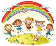 Kids Jumping with Joy under Rainbow. Kids jumping with joy on a hill under rainbow, colorful cartoon vector illustration