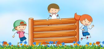 Kids jumping obstacle in nature background. Illustration royalty free illustration