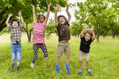 Kids Jumping in a orchard. Summer day Royalty Free Stock Photo