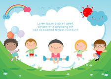 Kids jumping on the playground, children jump with joy, happy cartoon child playing on background. Template for advertising brochure,your text , Kids and frame royalty free illustration