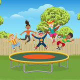 Kids jumping on trampoline in garden. Energetic and happy kids jumping on trampoline in the garden, vector ilustration stock illustration