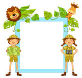 Kids in the jungle. Frame with kids ready to explore the jungle Royalty Free Stock Image